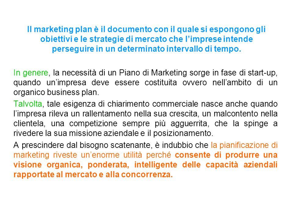 Il marketing plan è il documento con il quale si espongono gli obiettivi e le strategie di mercato che l'imprese intende perseguire in un determinato intervallo di tempo.