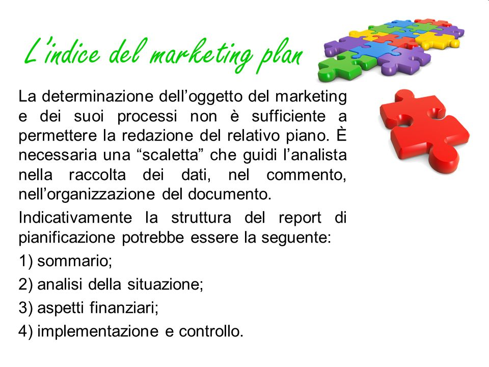 L'indice del marketing plan