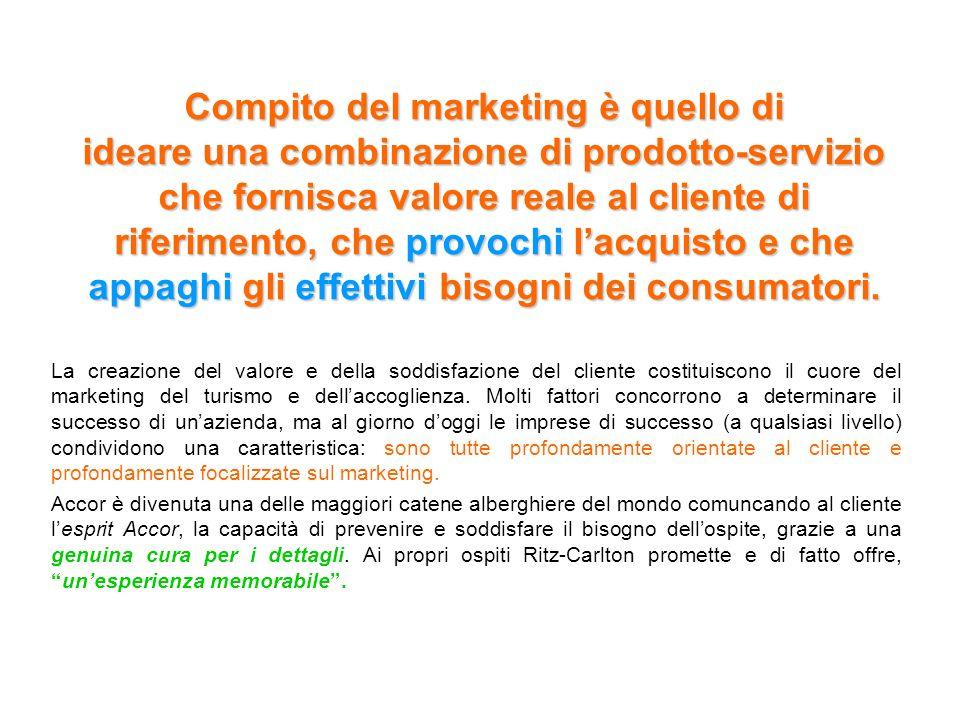Compito del marketing è quello di ideare una combinazione di prodotto-servizio che fornisca valore reale al cliente di riferimento, che provochi l'acquisto e che appaghi gli effettivi bisogni dei consumatori.
