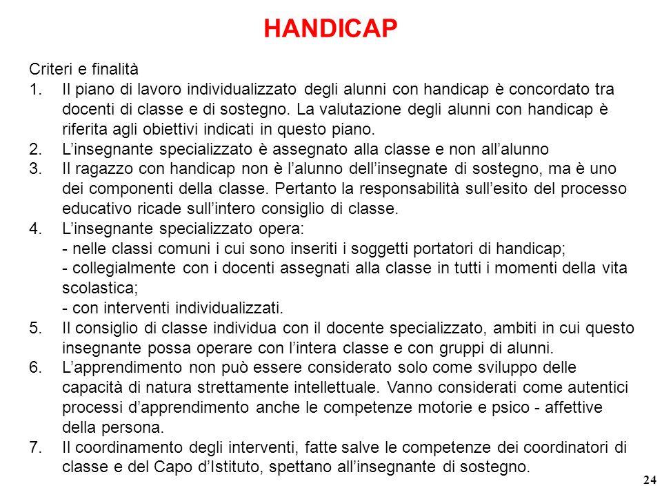 HANDICAP Criteri e finalità