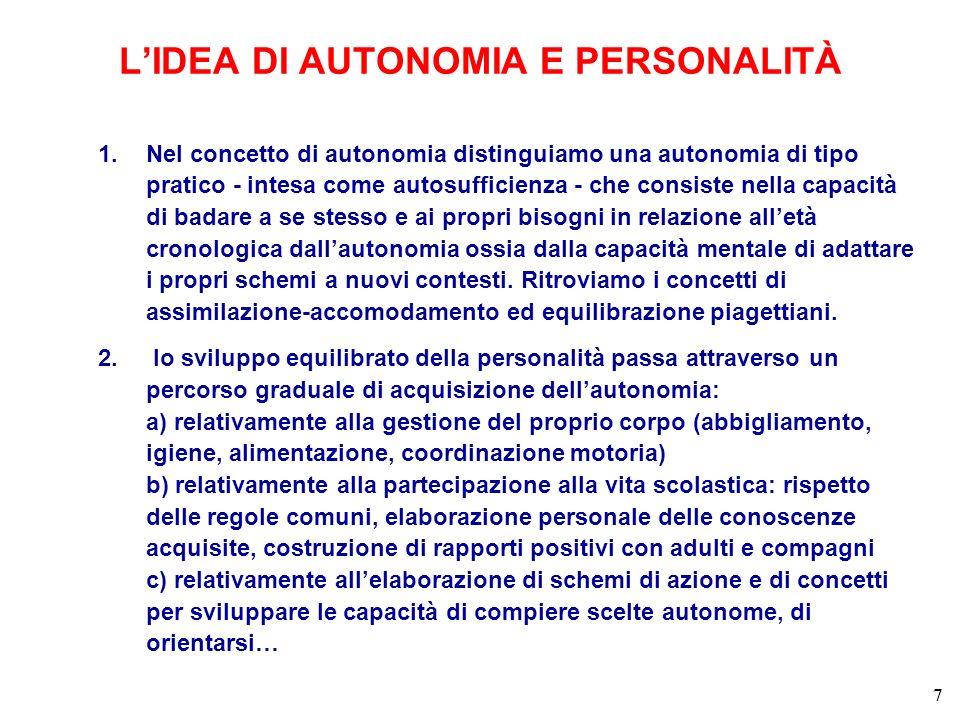 L'IDEA DI AUTONOMIA E PERSONALITÀ