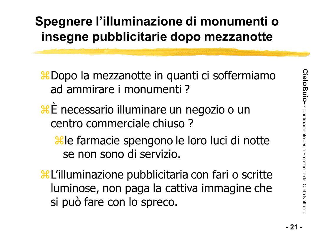 Spegnere l'illuminazione di monumenti o insegne pubblicitarie dopo mezzanotte