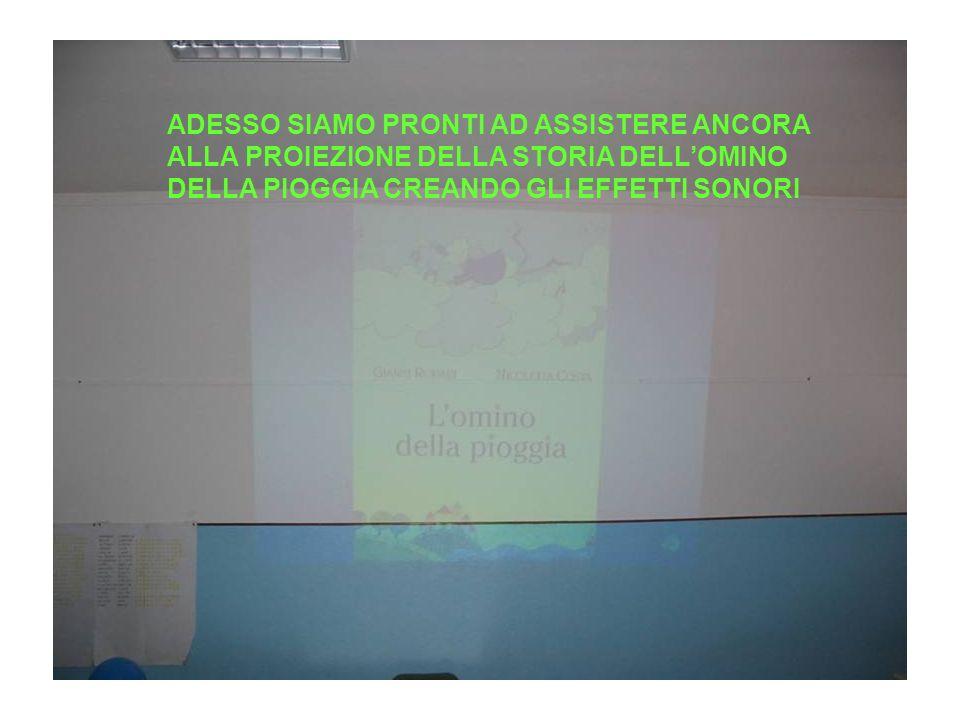 ADESSO SIAMO PRONTI AD ASSISTERE ANCORA ALLA PROIEZIONE DELLA STORIA DELL'OMINO DELLA PIOGGIA CREANDO GLI EFFETTI SONORI