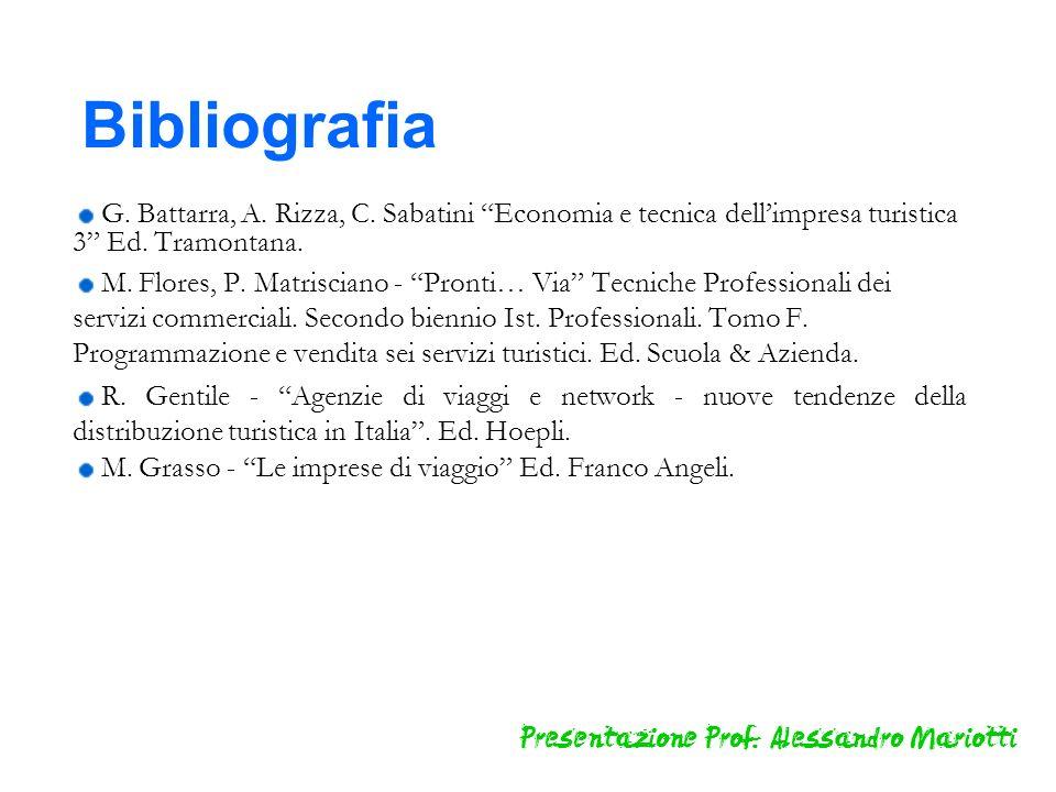 Bibliografia G. Battarra, A. Rizza, C. Sabatini Economia e tecnica dell'impresa turistica 3 Ed. Tramontana.