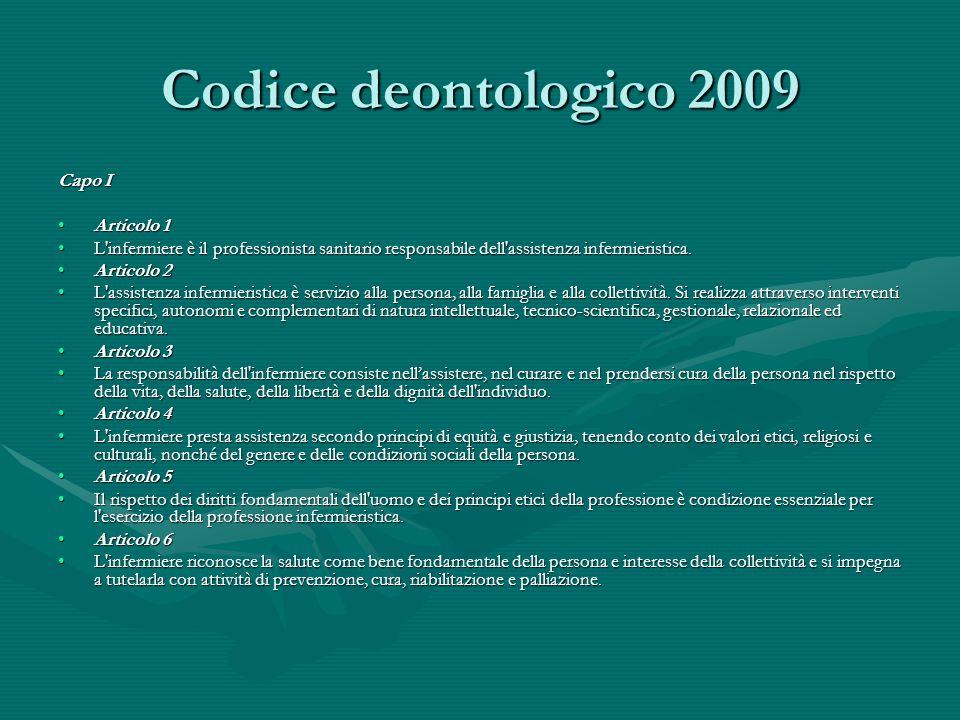 Codice deontologico 2009 Capo I Articolo 1