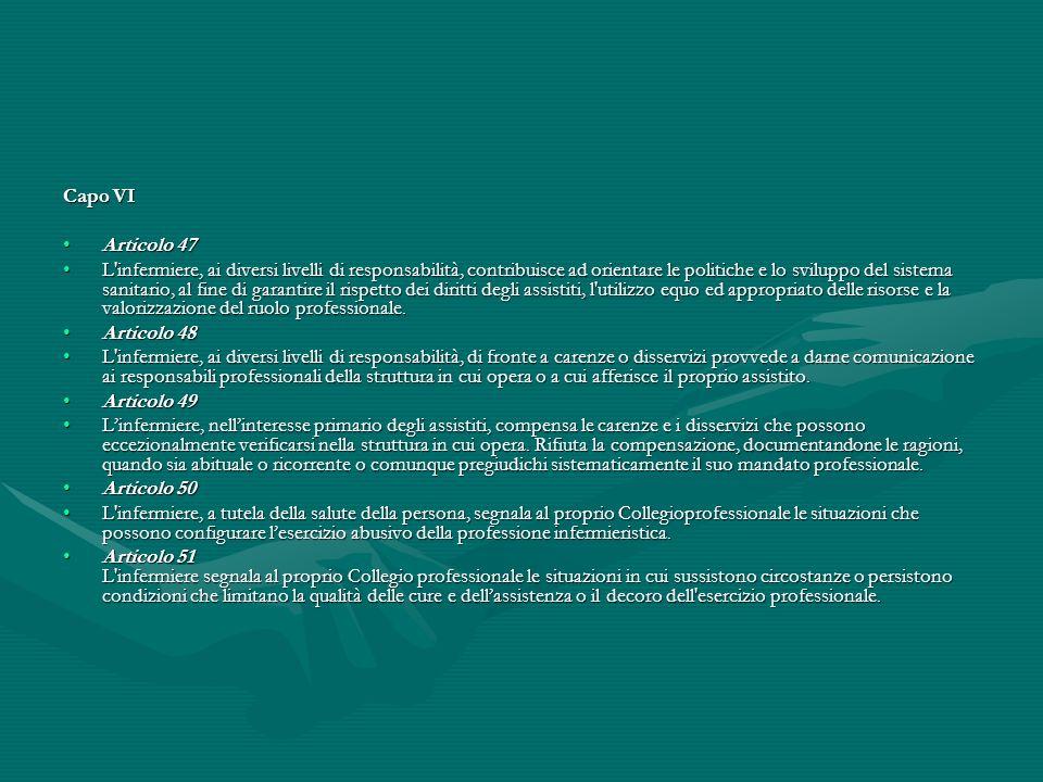 Capo VI Articolo 47.