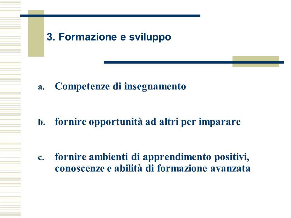 3. Formazione e sviluppo Competenze di insegnamento. fornire opportunità ad altri per imparare.
