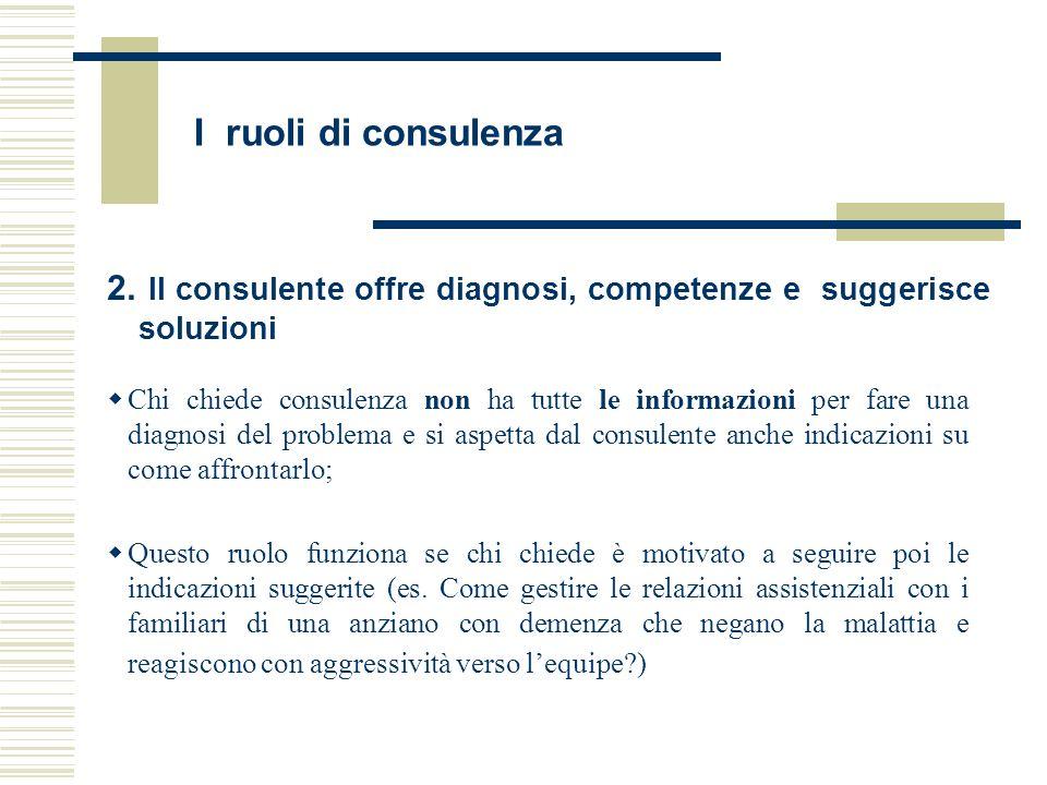 I ruoli di consulenza 2. Il consulente offre diagnosi, competenze e suggerisce soluzioni.