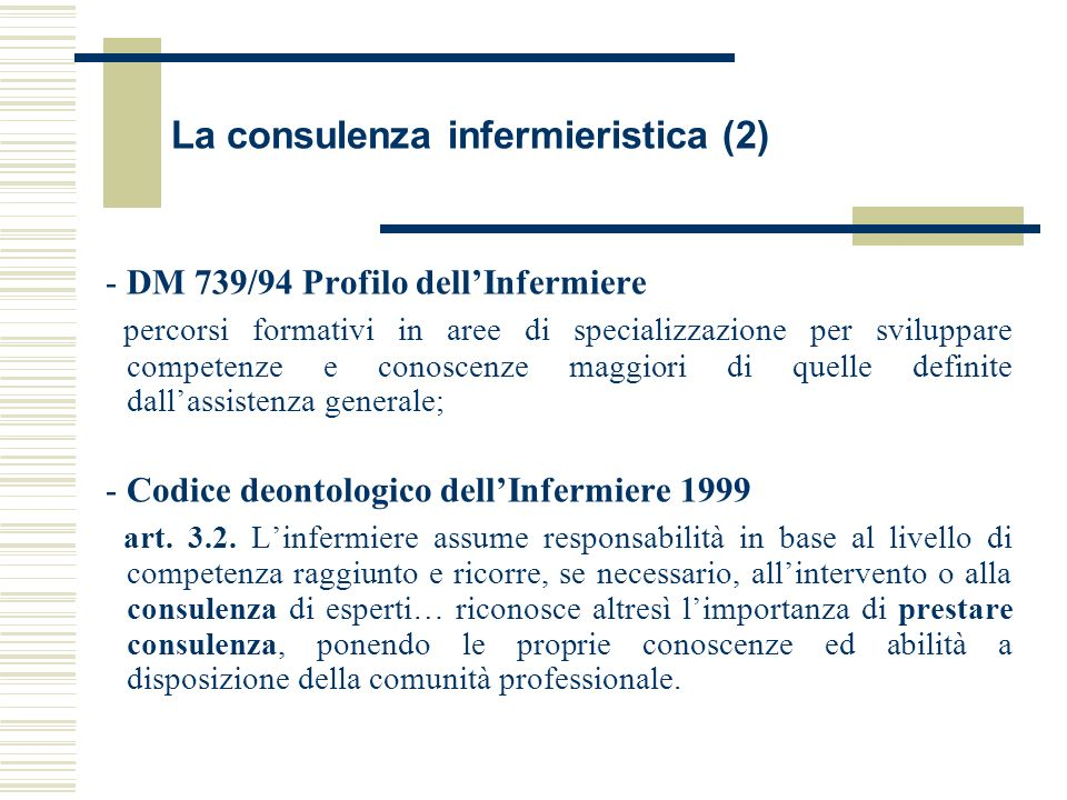 La consulenza infermieristica (2)