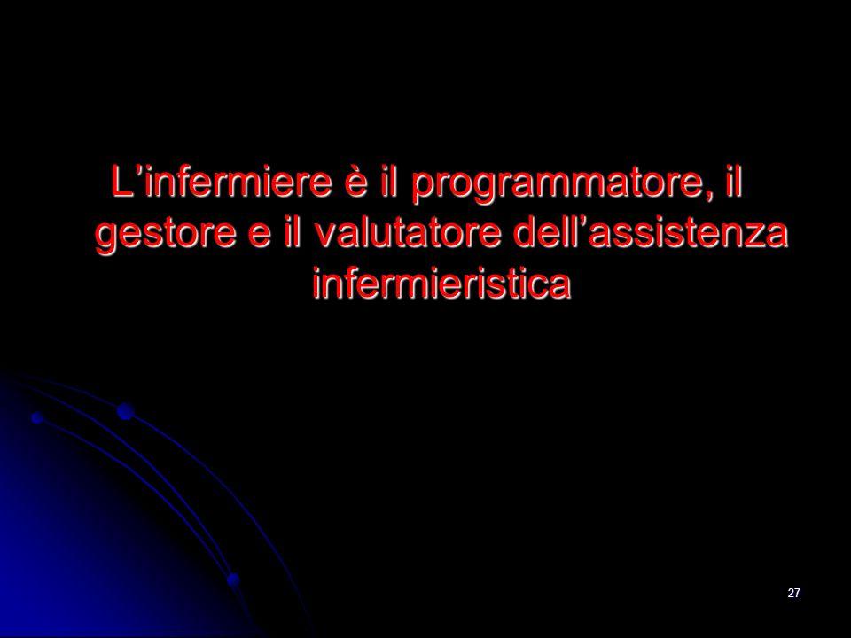 L'infermiere è il programmatore, il gestore e il valutatore dell'assistenza infermieristica