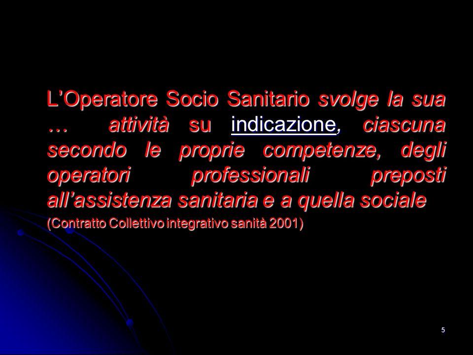 L'Operatore Socio Sanitario svolge la sua … attività su indicazione, ciascuna secondo le proprie competenze, degli operatori professionali preposti all'assistenza sanitaria e a quella sociale