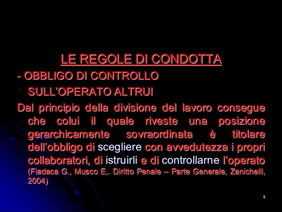 LE REGOLE DI CONDOTTA - OBBLIGO DI CONTROLLO SULL'OPERATO ALTRUI