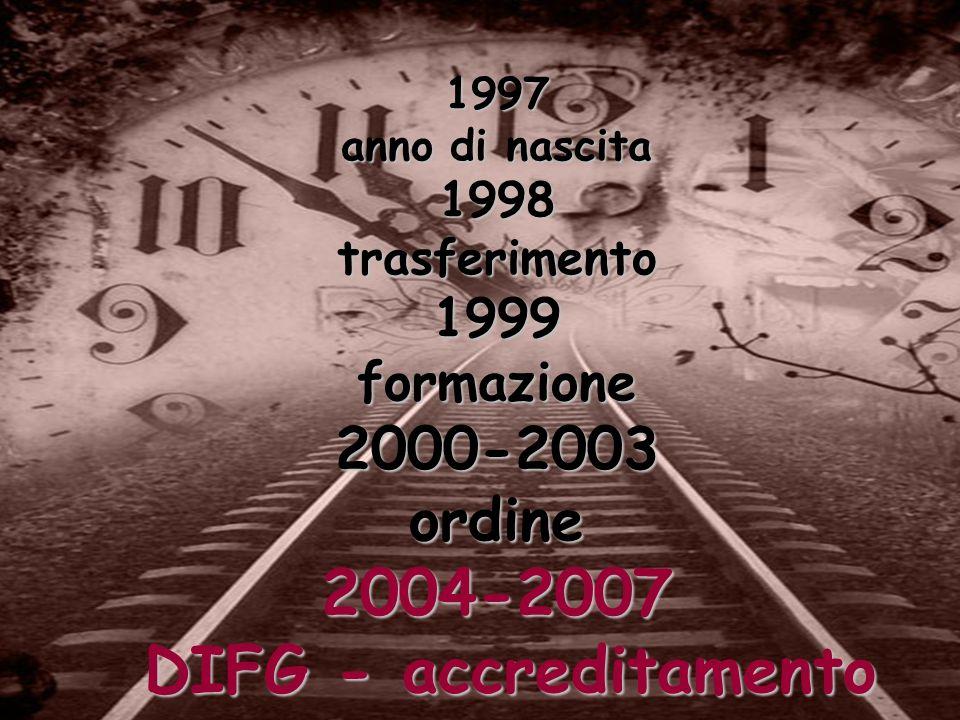 1997 anno di nascita 1998 trasferimento 1999 formazione 2000-2003 ordine 2004-2007 DIFG - accreditamento