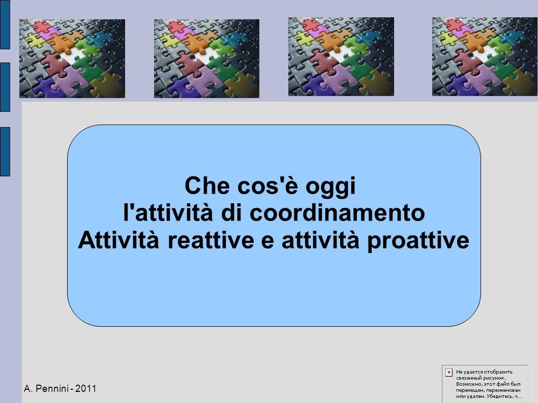 l attività di coordinamento Attività reattive e attività proattive