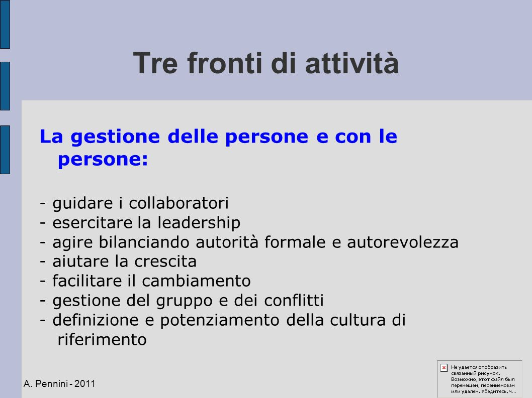 Tre fronti di attività La gestione delle persone e con le persone: