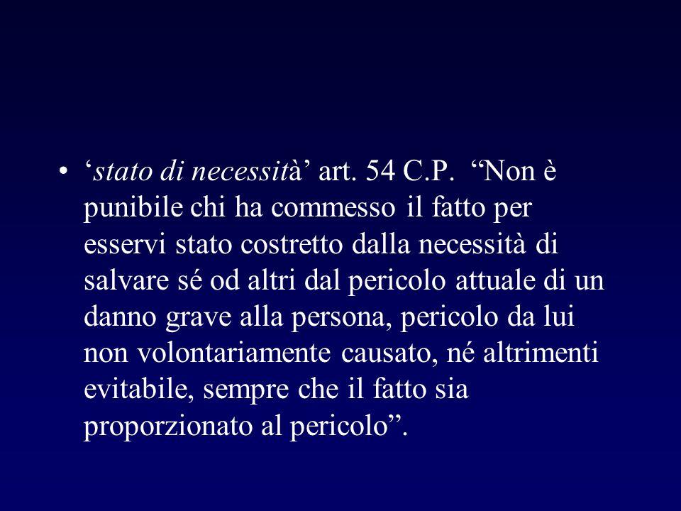 'stato di necessità' art. 54 C. P