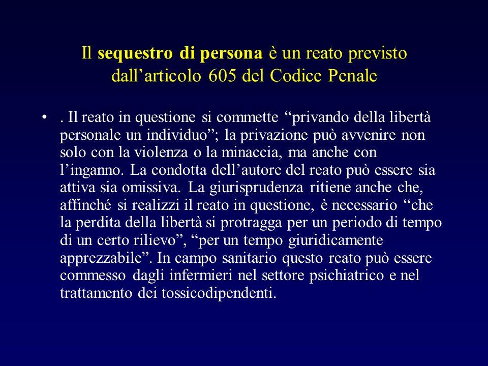 Il sequestro di persona è un reato previsto dall'articolo 605 del Codice Penale