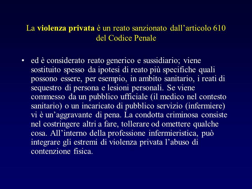 La violenza privata è un reato sanzionato dall'articolo 610 del Codice Penale