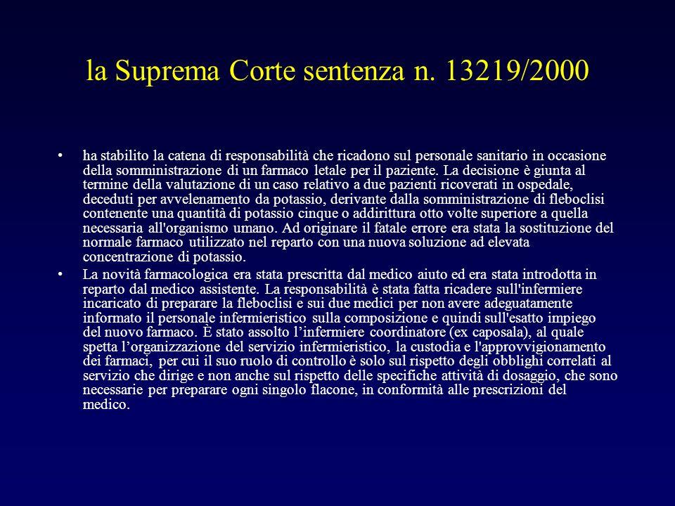 la Suprema Corte sentenza n. 13219/2000