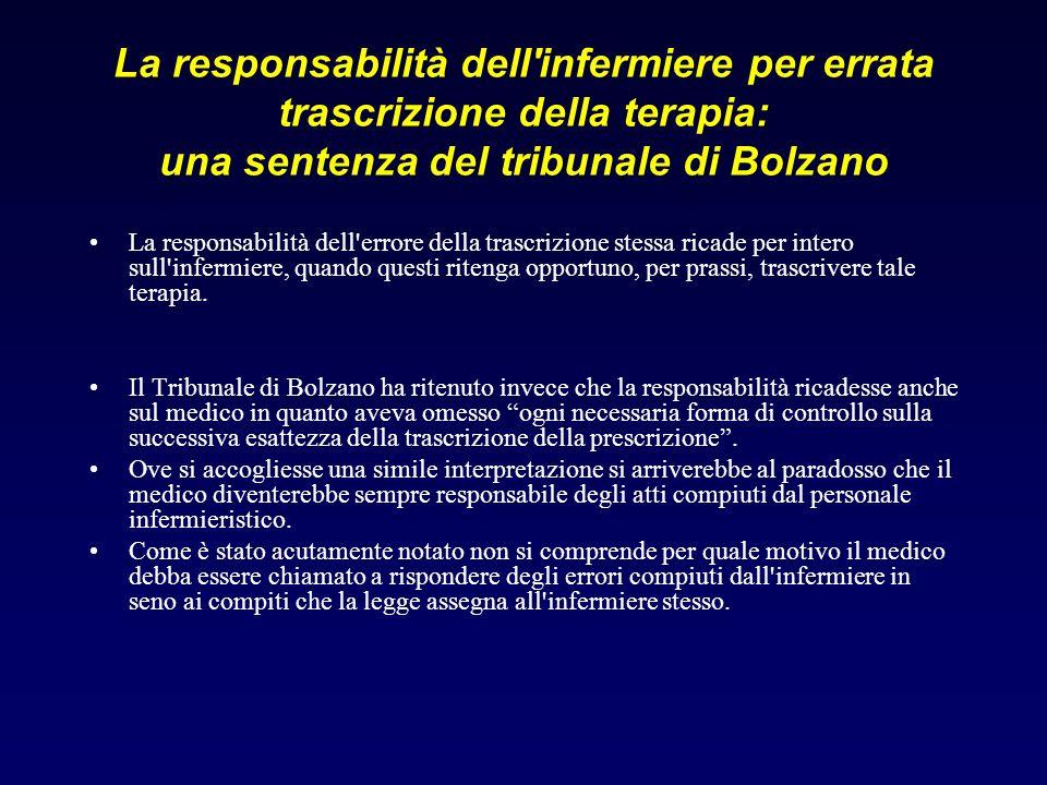 La responsabilità dell infermiere per errata trascrizione della terapia: una sentenza del tribunale di Bolzano