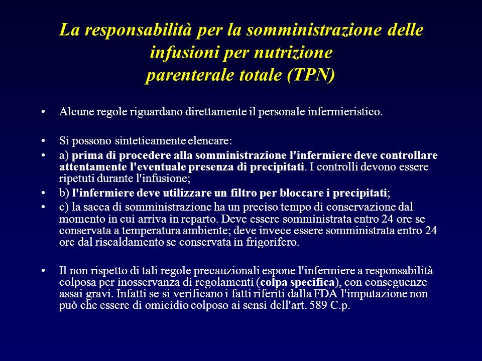 La responsabilità per la somministrazione delle infusioni per nutrizione parenterale totale (TPN)