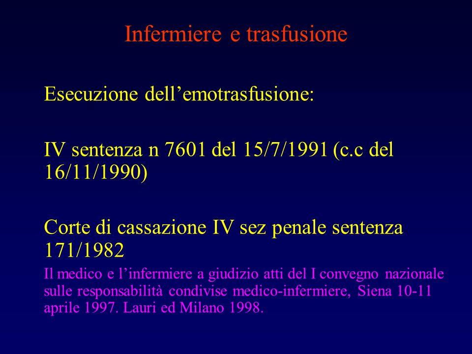 Infermiere e trasfusione