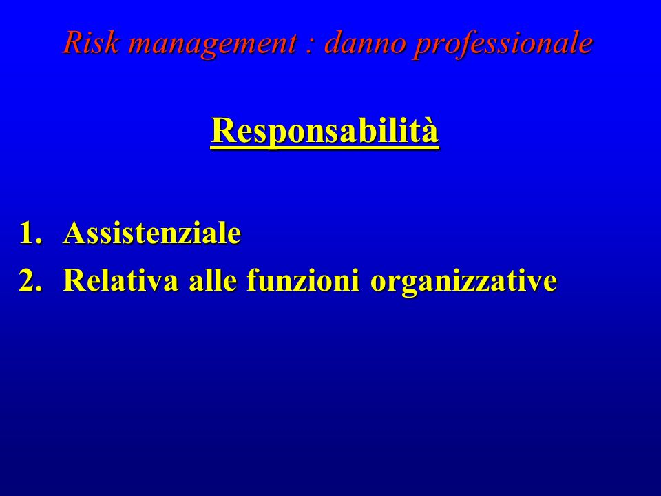 Risk management : danno professionale