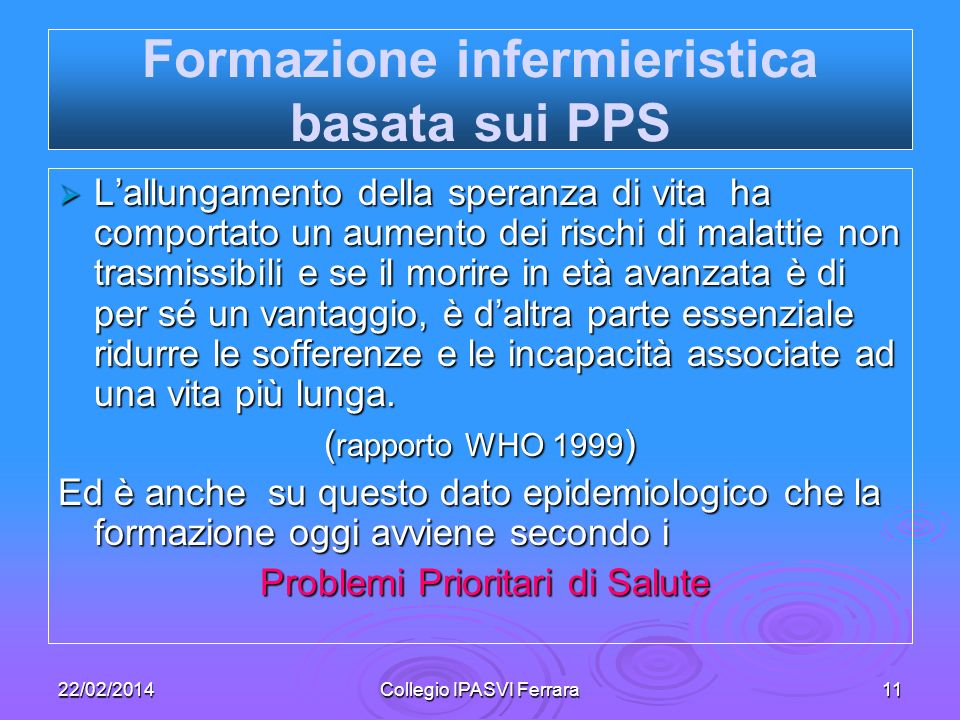 Formazione infermieristica basata sui PPS