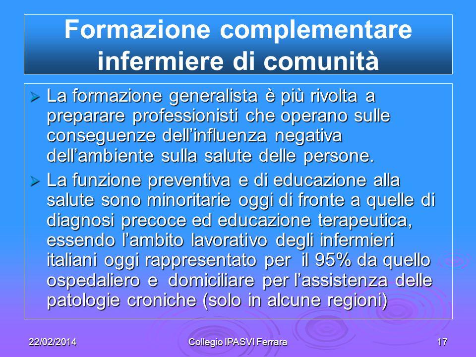 Formazione complementare infermiere di comunità