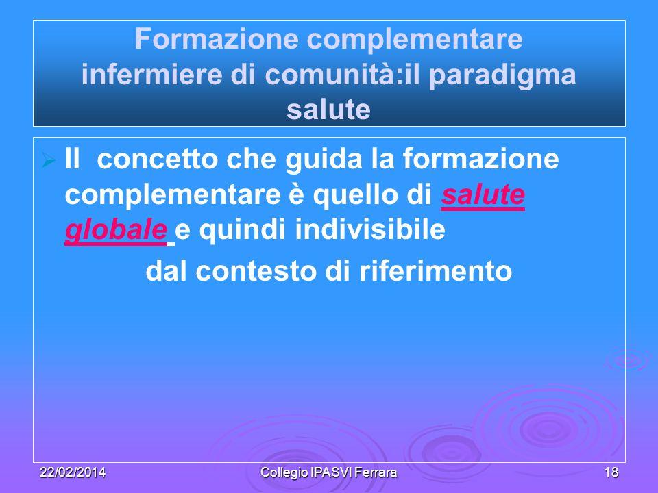 Formazione complementare infermiere di comunità:il paradigma salute