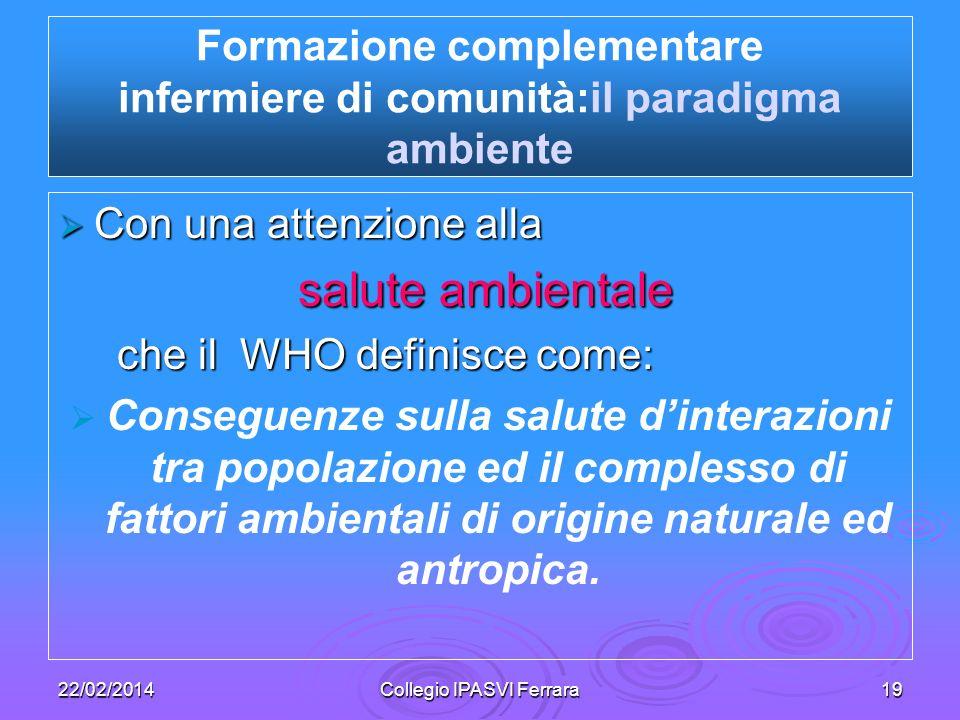 Formazione complementare infermiere di comunità:il paradigma ambiente
