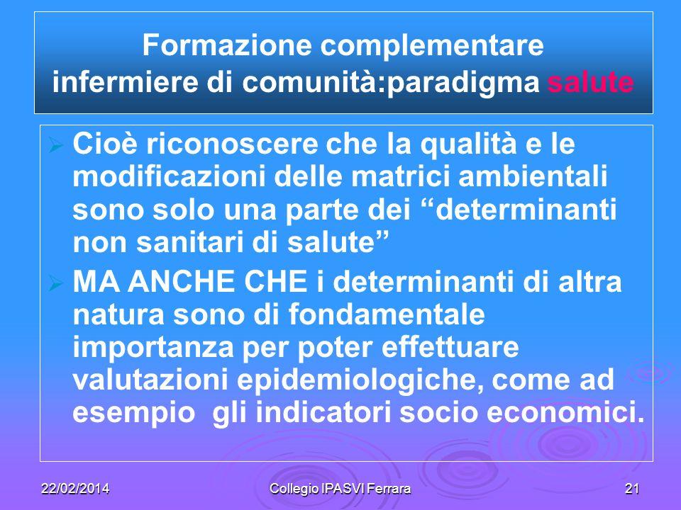 Formazione complementare infermiere di comunità:paradigma salute