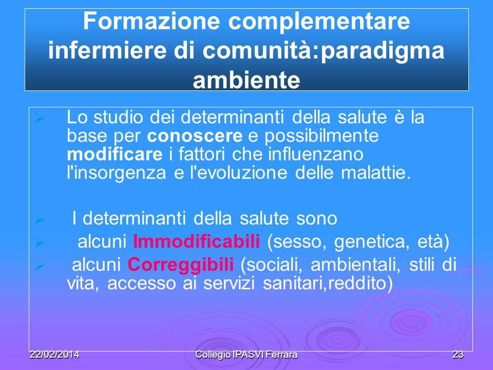 Formazione complementare infermiere di comunità:paradigma ambiente