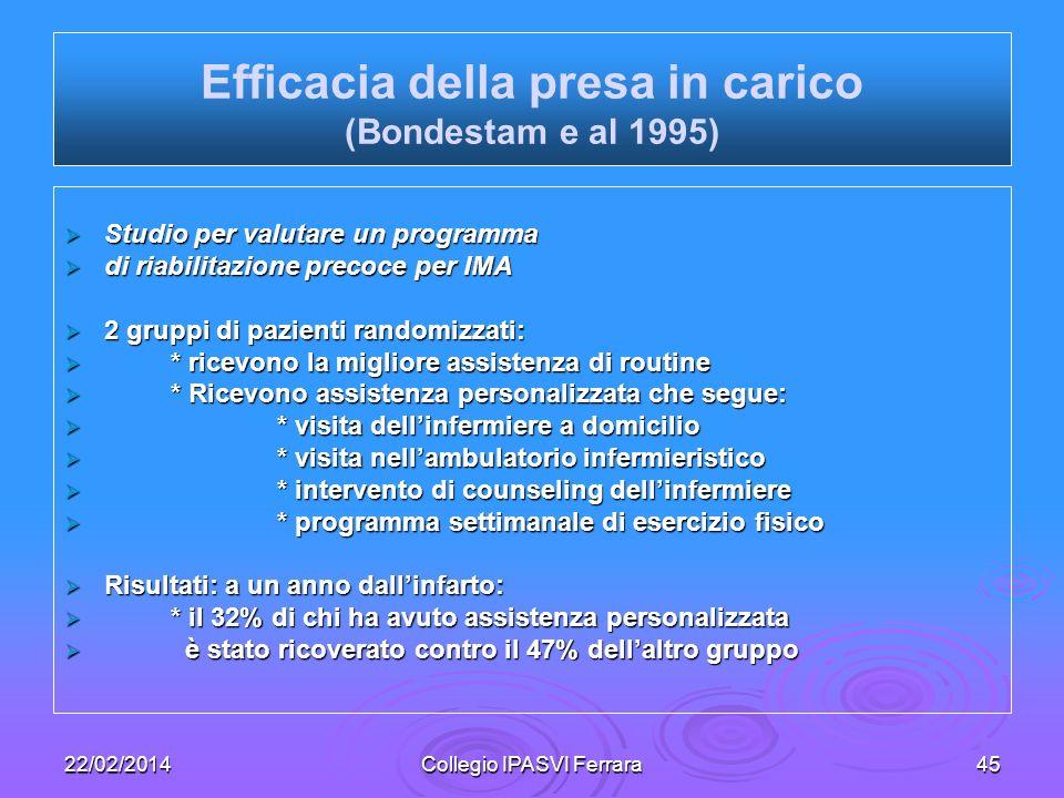 Efficacia della presa in carico (Bondestam e al 1995)