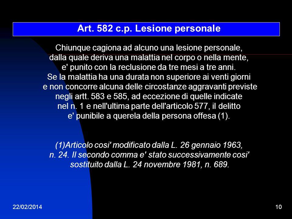 Art. 582 c.p. Lesione personale