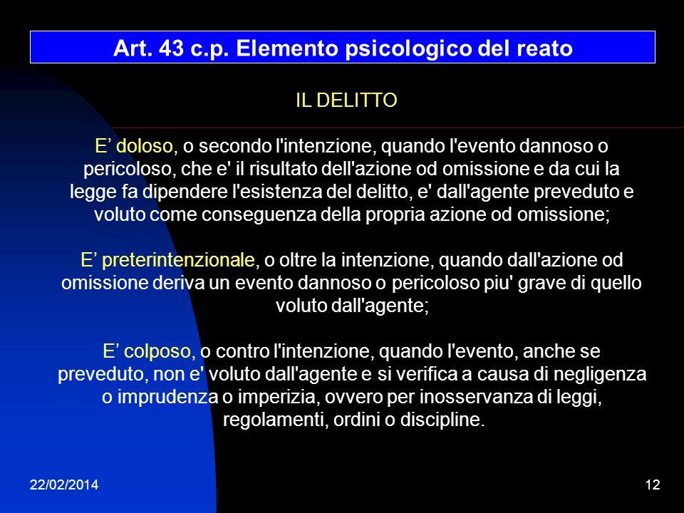 Art. 43 c.p. Elemento psicologico del reato
