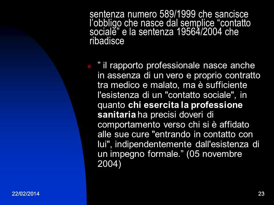 sentenza numero 589/1999 che sancisce l'obbligo che nasce dal semplice contatto sociale e la sentenza 19564/2004 che ribadisce