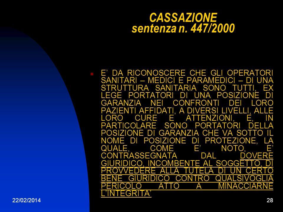 CASSAZIONE sentenza n. 447/2000