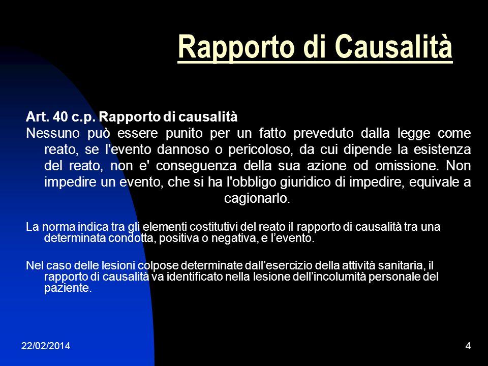 Rapporto di Causalità Art. 40 c.p. Rapporto di causalità