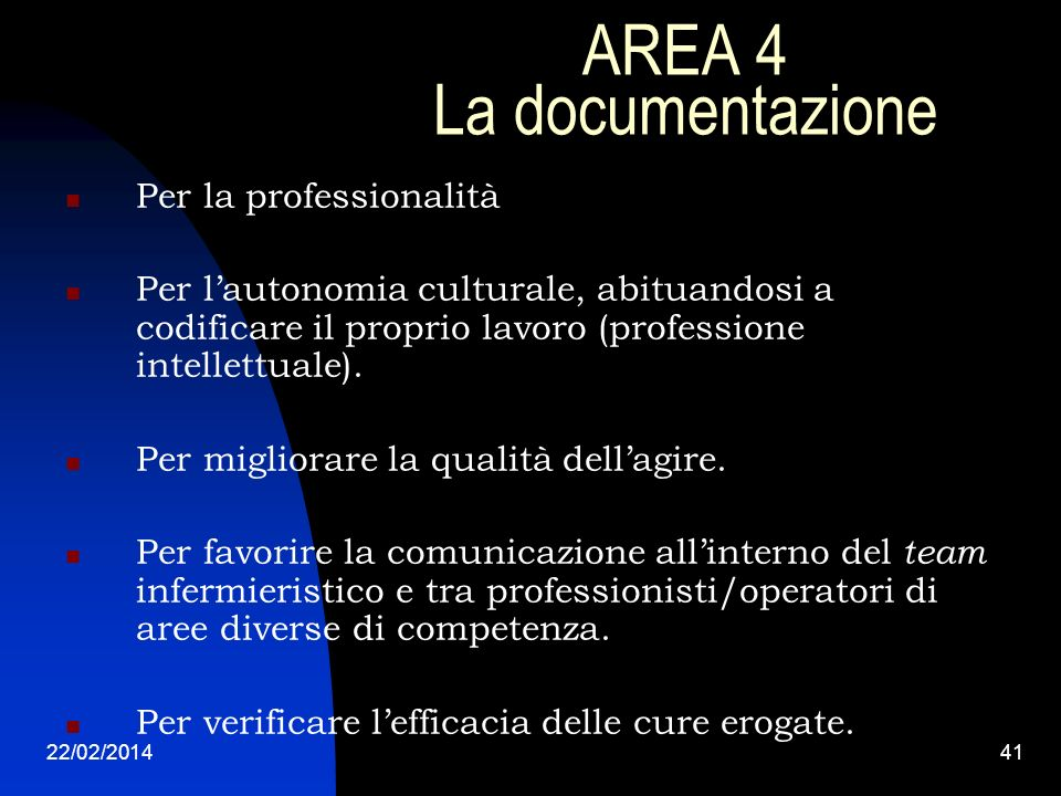 AREA 4 La documentazione
