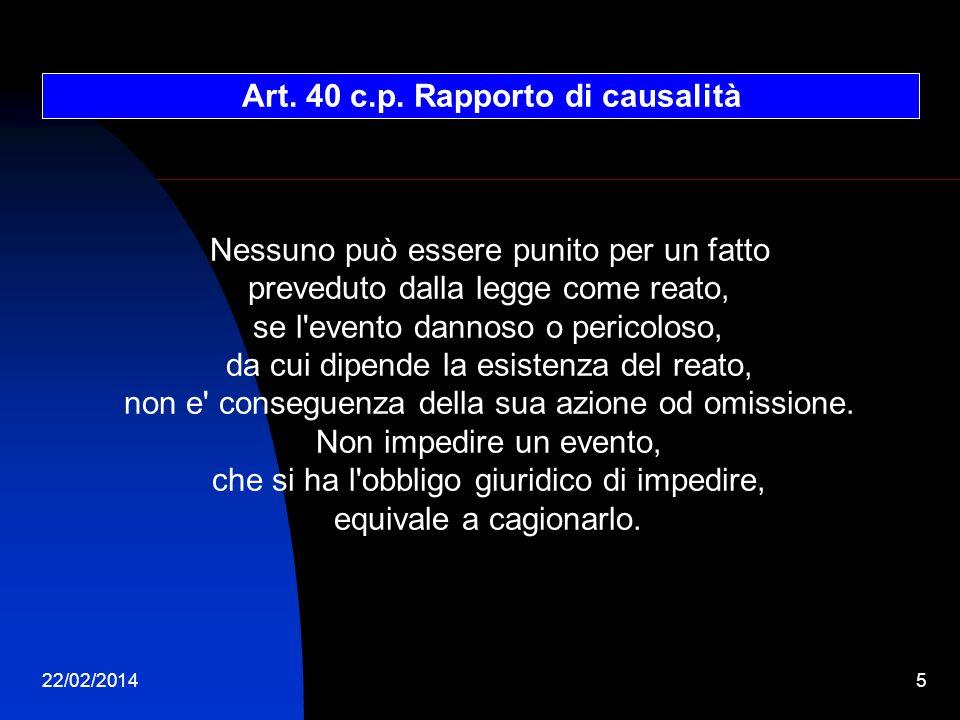 Art. 40 c.p. Rapporto di causalità