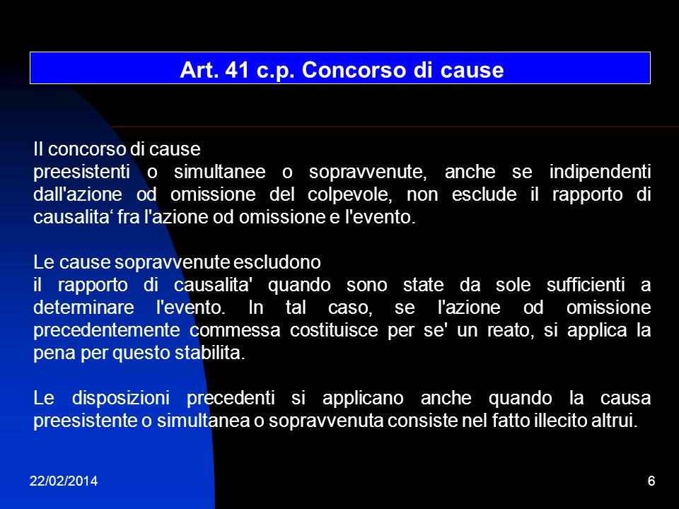 Art. 41 c.p. Concorso di cause