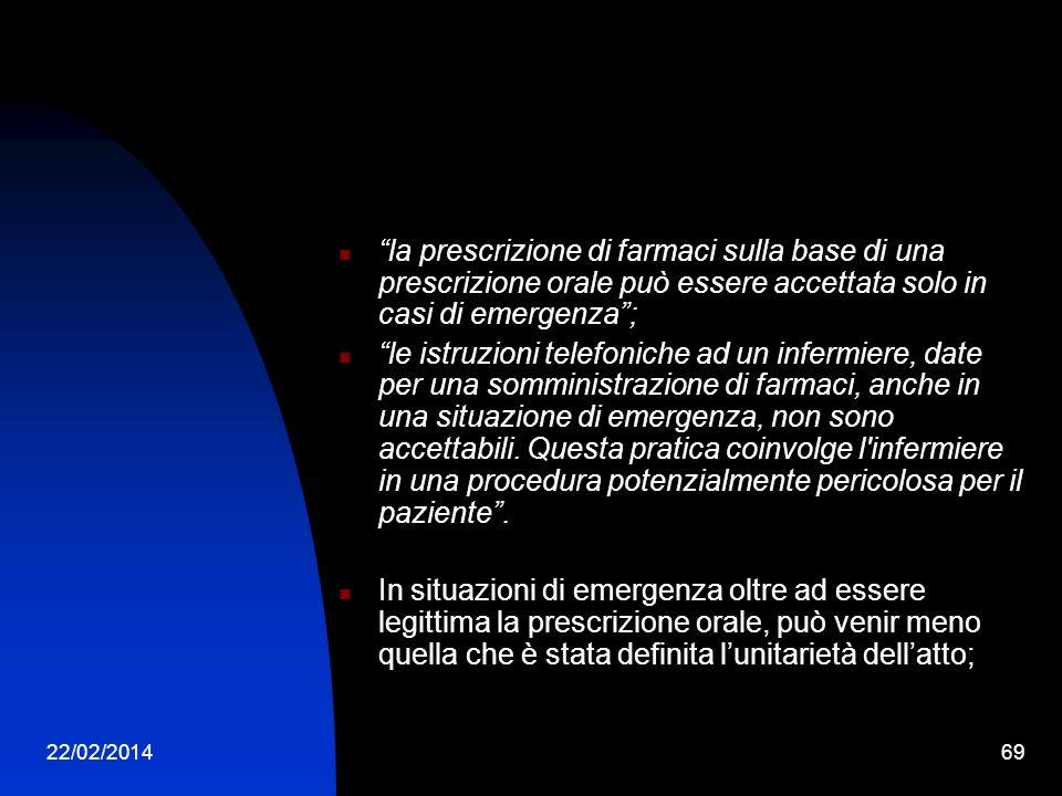 la prescrizione di farmaci sulla base di una prescrizione orale può essere accettata solo in casi di emergenza ;