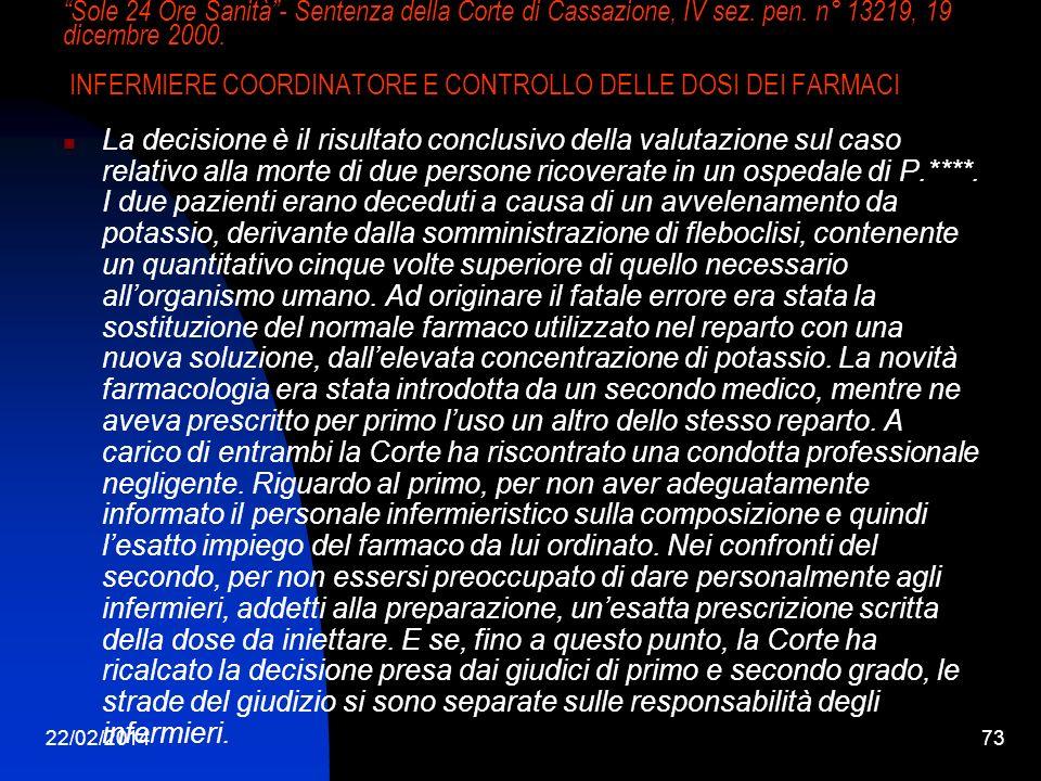 Sole 24 Ore Sanità - Sentenza della Corte di Cassazione, IV sez. pen