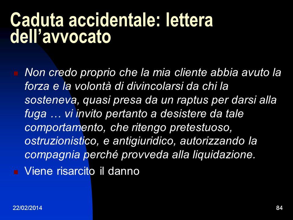 Caduta accidentale: lettera dell'avvocato