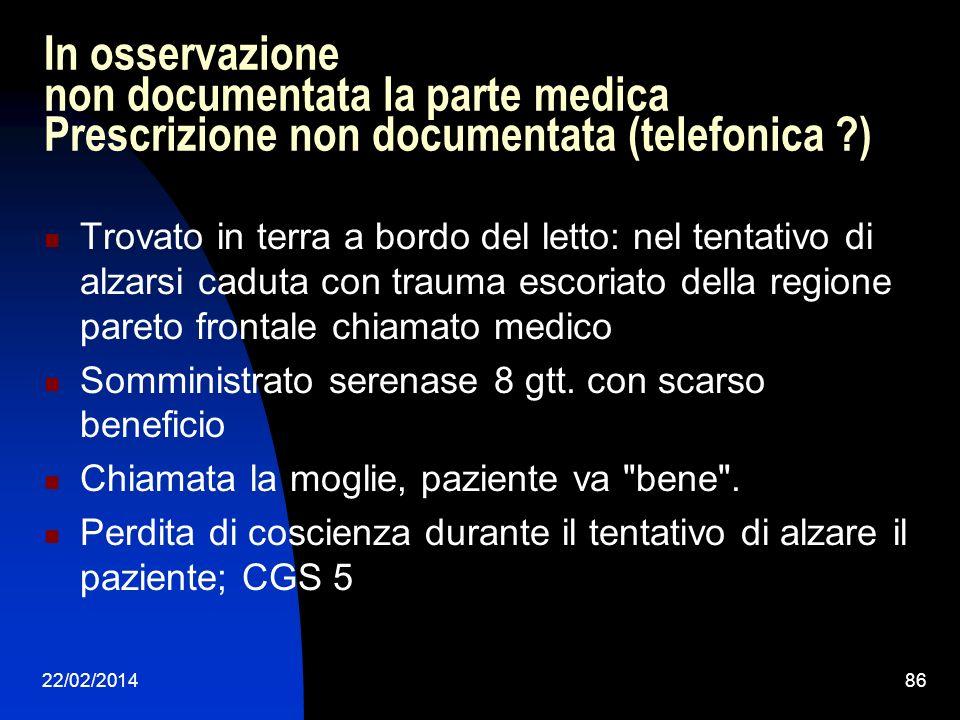 In osservazione non documentata la parte medica Prescrizione non documentata (telefonica )