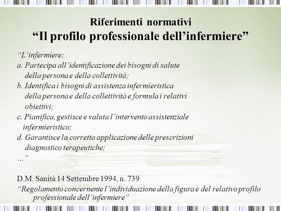 Riferimenti normativi Il profilo professionale dell'infermiere
