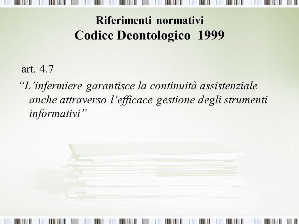Riferimenti normativi Codice Deontologico 1999