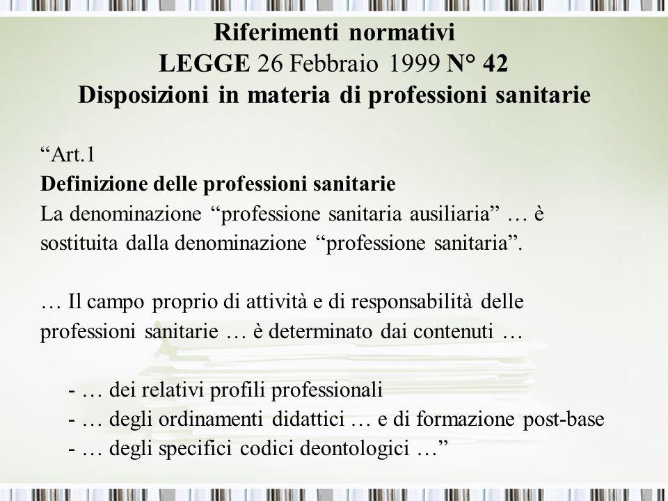 Riferimenti normativi LEGGE 26 Febbraio 1999 N° 42 Disposizioni in materia di professioni sanitarie