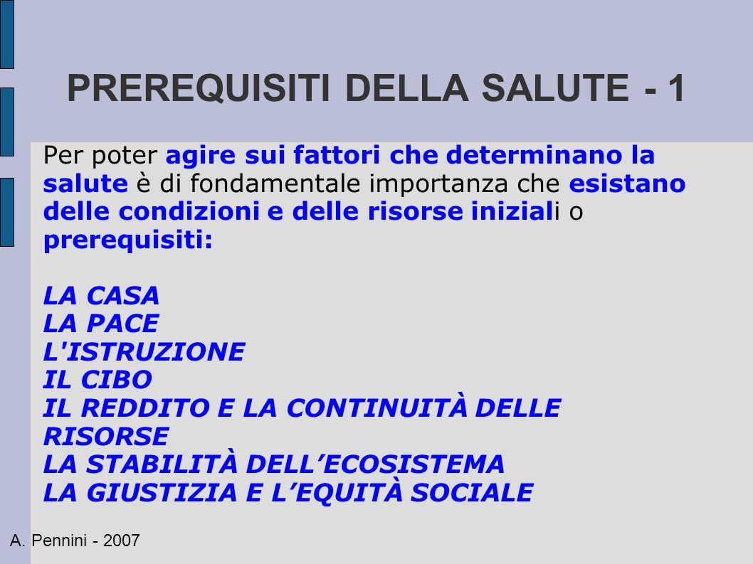 PREREQUISITI DELLA SALUTE - 1